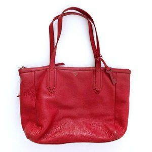 Fossil Womens Sydney Shopper Red Leather Bag Purse